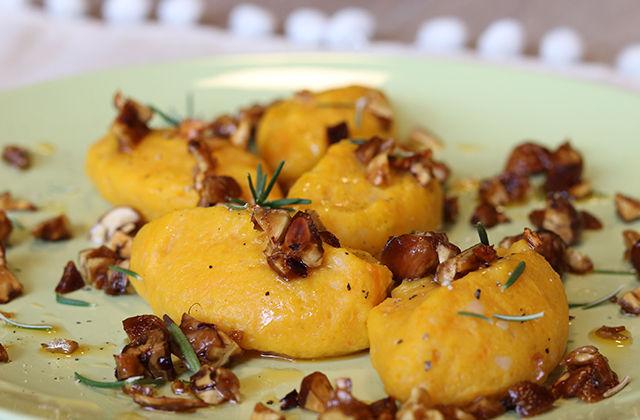Gnocchi di zucca con castagne