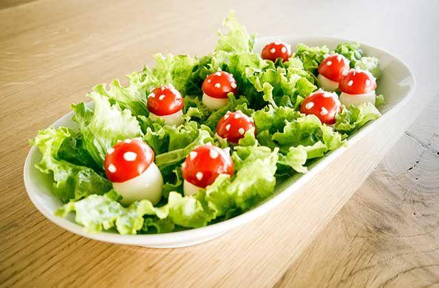 Funghetti di uova e pomodorini